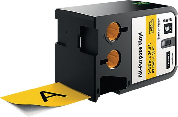 Labeltape voor DYMO XTL vinyl 41mm x 7m zwart op geel permanent hechtend