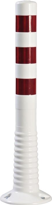 Versperringspaal PU wit/rood d.80xH.750mm v.het vastschr. m.bevestigingsmat.