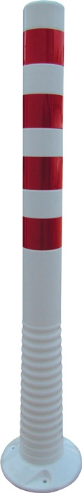 Versperringspaal PU wit/rood d.80xH.1000mm v.het vastschroeven m.bevest.mat.