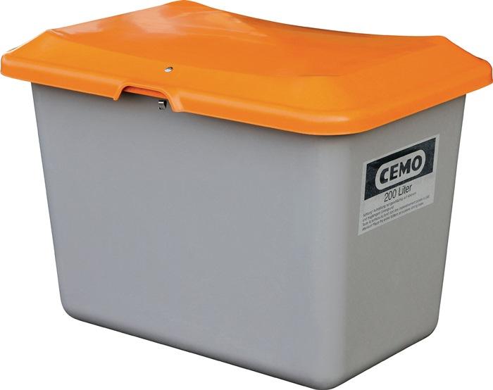 Strooimateriaalbak 200l GVK L890xB600xH640 mm container grijs/deksel oranje