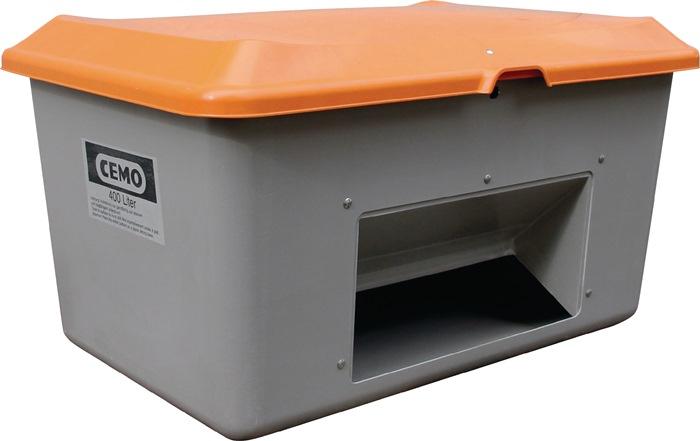 Strooimateriaalbak 400l GVK L1210xB820xH670 mm container grijs/deksel oranje