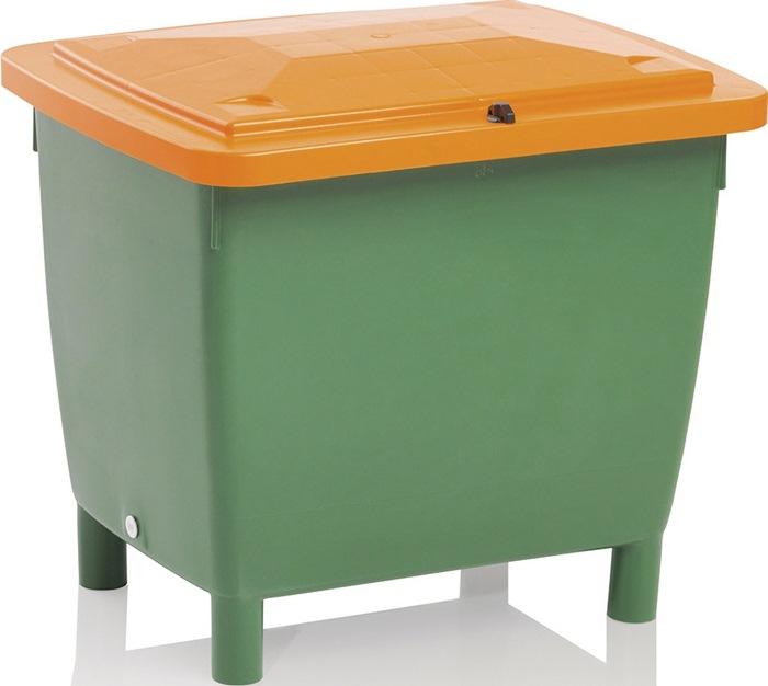 Strooimateriaalbak 210l z luik HDPE L790xB605xH775mm contnr groen/deksel oranje