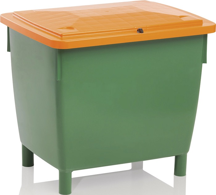 Strooimateriaalbak 400l z luik HDPE L945xB725xH930mm contnr groen/deksel oranje