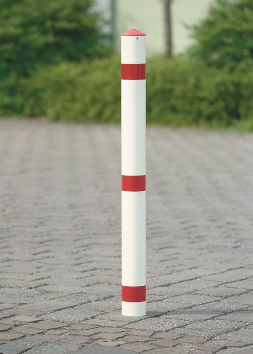 Versperringspaal staal v. beton te gieten rood/wit m.kap vuurverz.+gepoedercoat