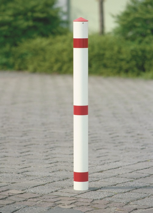 Versperpaal staal m.grondhuls+driekantslot rood/wit m.kap vuurverz.+gepoedercoat