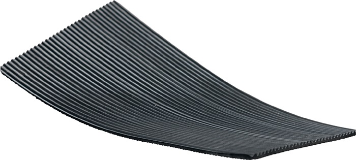 Rub. mat m.fijne groe. B.1000mm opp. 10m2 z. text.inl.wrk zwart dik. 3mm rol
