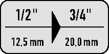 Verl.st.420-4 1/2in. naar 3/4in. vierk.l.48mm v.kracht-steeksleutelinzetten ASW