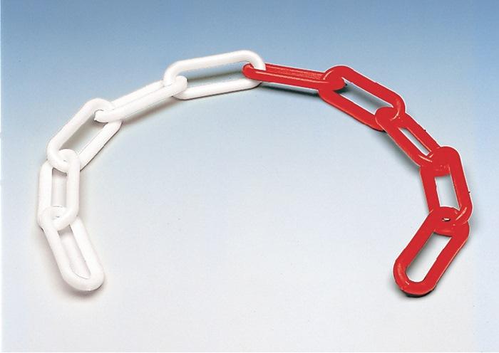Afsluitketting schakel-d.6mm L.30m kunststof rood/wit
