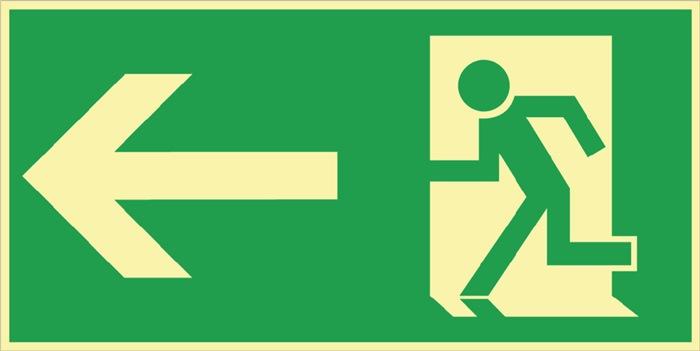 folie Reddingsweg links 297x148mm groen/wit nalichtend zelfklevend