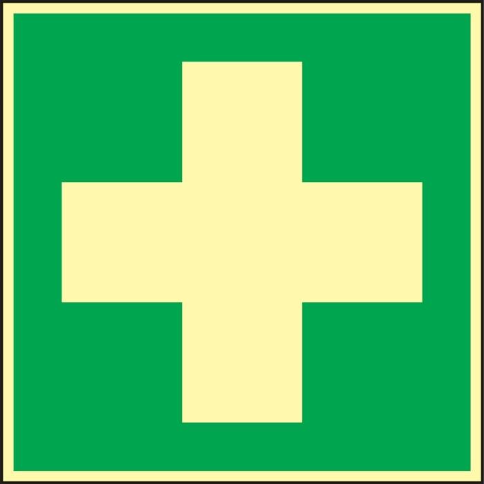 folie Eerste hulp 148x148mm groen/wit nalichtend zelfklevend