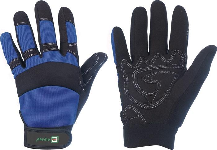 Handschoen EN388cat.II Mechanicalter mt10 kunstl.zwart/blauw klittenb.aan pols