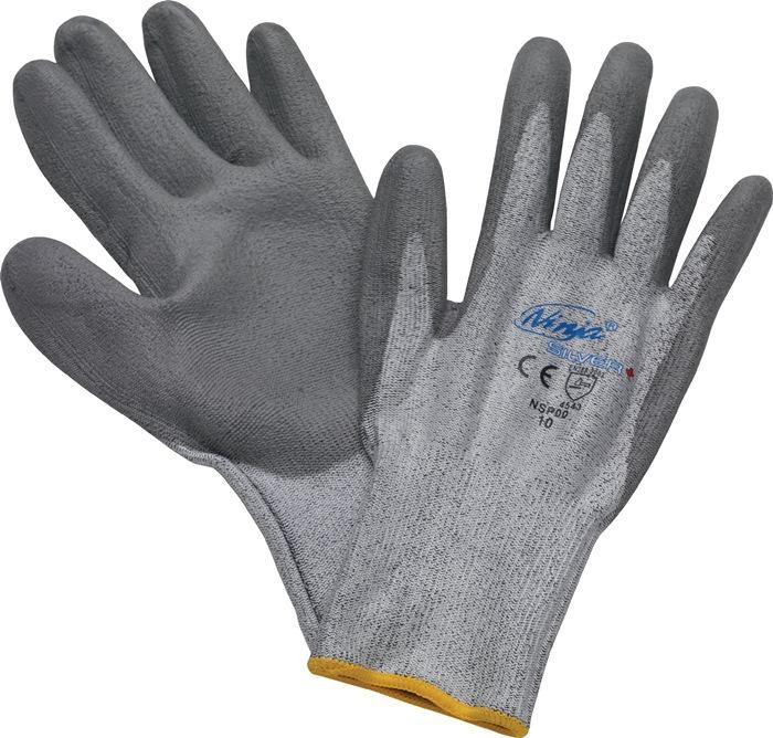 Snijbeschermingshandschoen mt.8 grijs met PU-coating EN388