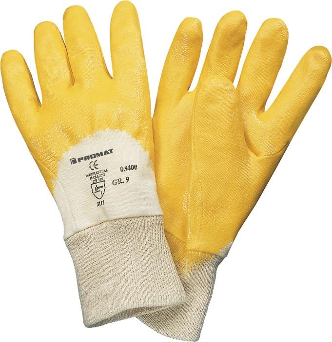 Handschoenen EN388/420cat.II lip mt.7 deels m.nitrilcoating geel m.aantrekk.12p