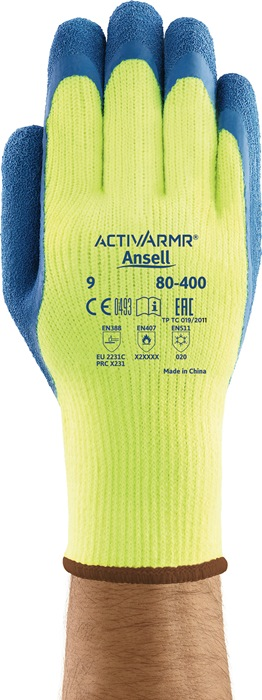 Handschoenen EN388/511/407 cat.III PowerFlex 80-400 mt.9 acryl m.nat.rubberlatex