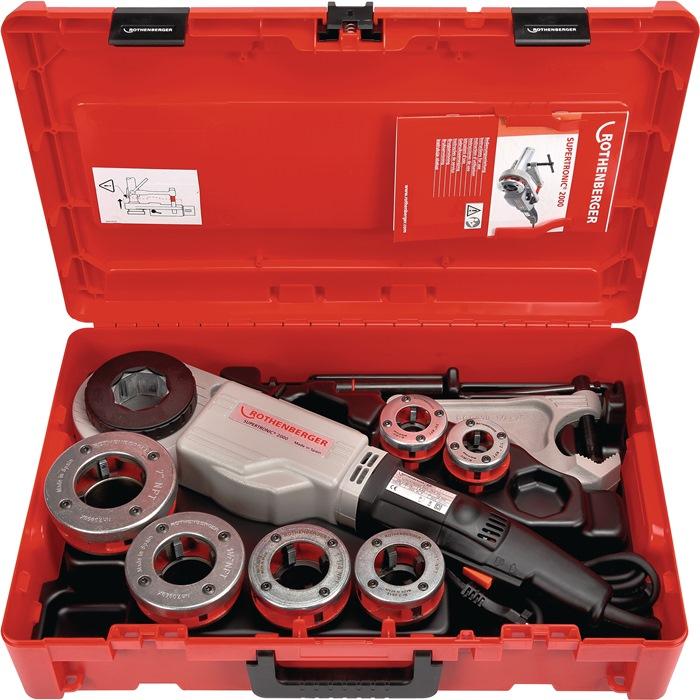 Set v.schroefdrdsnijmach SUPERTRONIC® 2000 BSPT R 1/2-3/4-1-1 1/4-1 1/2-2in 230V