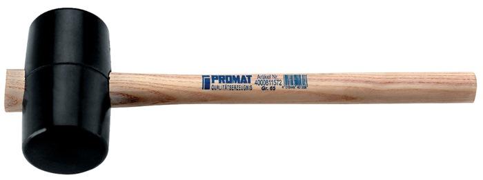 Rub.hamer DIN5128 785 g kopl 127mm kop-d.75mm zwart m.essenh.st.90 Shore h.heid
