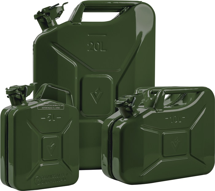 Brandstofjerrycan inh. 20l Lengte 345 x br. 165 x Hoogte 470mm olijfgroen