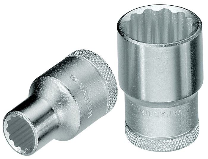 Steeksleutelbit D 19 DIN3124 ISO2725-1 1/2 inch 12kt. SW27mm L41,5mm Cr.-V.-st.