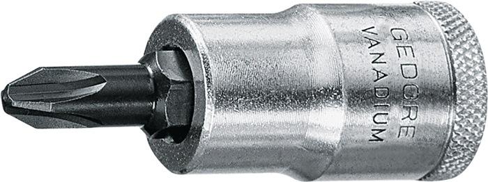 Steeksl.bit IKS 19 DIN3120 - C12,5, ISO1174 1/2inch PH 2 L60mm Cr.-V./spc.st.