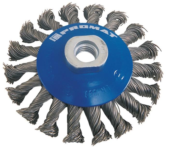 Staaldraadborstel d.100mm M14 draad-d.0,35mm max.12500min/1 PROMAT
