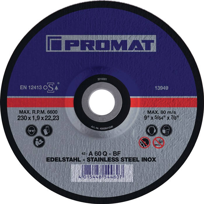 Doorslijpschijf v.dunne met. platen INOX d.125x1,5mm recht rvs/blik bor.22,23mm
