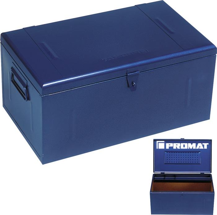 Stalen koffer 910x530x430mm m.draaggrepen afsluitbaar, plaatstaal blauw PROMAT