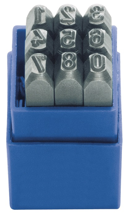 Slagcijferset DIN1451 9-d.cijferhoogte 6mm 0-9 gravure 58-60HRc i.ku.-box TURNUS