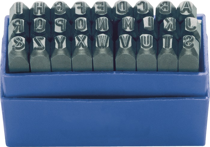 Slagl.set DIN1451 27-d.letterh.8mm hoofdl.A-Z gravure 58-60HRc i.ku.-box TURNUS