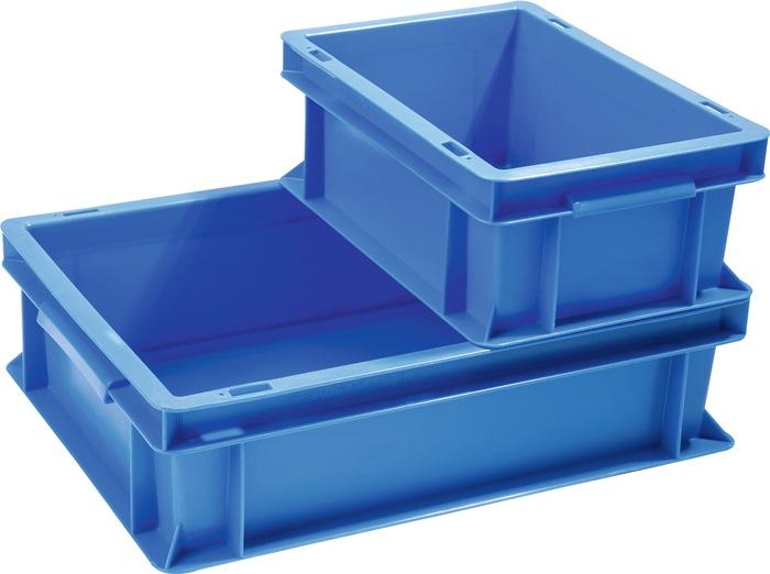 Transportstapelbak blauw L600xB400xH340mm zijwanden gesloten handgreepopening