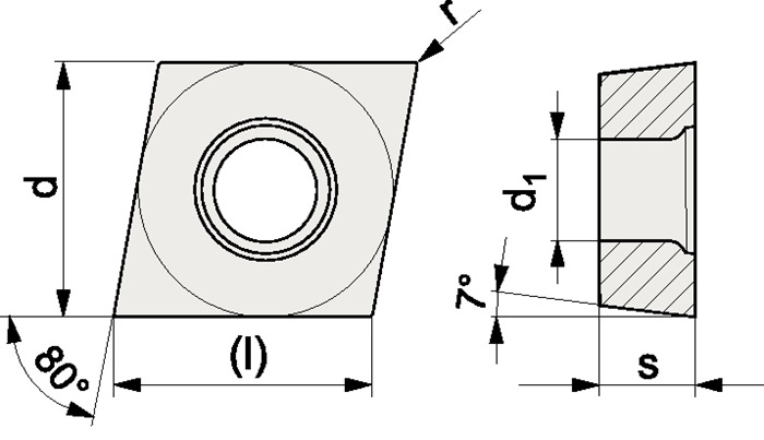 Wisselplaatje CCGT 060202-AL N20 bewerking aluminium PROMAT