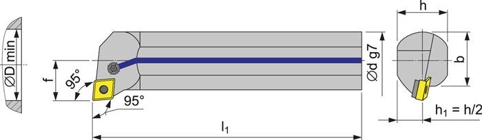 Boorstang A32S-PCLNL12 vernikkeld met IK PROMAT