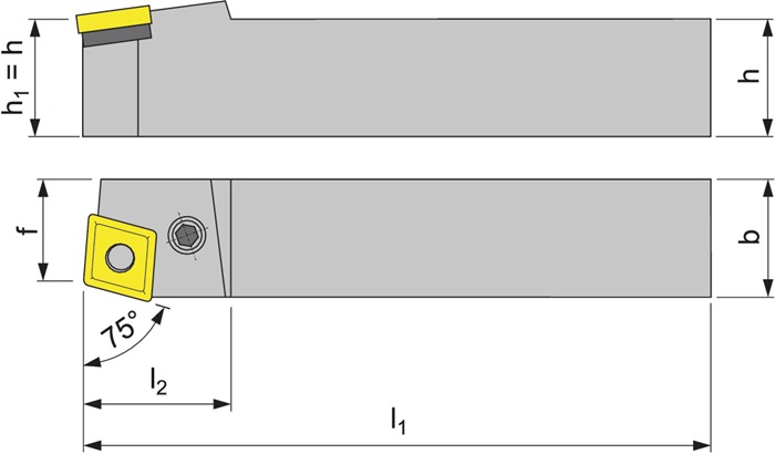 Klemdraaihouder PCBNR 2525 M12 rechts gebruineerd uitwendig draaien PROMAT