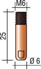 Str.kp. M6 dr-d.1,0mm L25mm schr.d.-D. M6 dr-D. 1,0mm L.25mm E-Cu v.ERGOPLUS 15