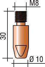 Stroomkop M8, draad-d.1,6mm L.30mm E-Cu voor ERGOPLUS 400/500 Trafimet