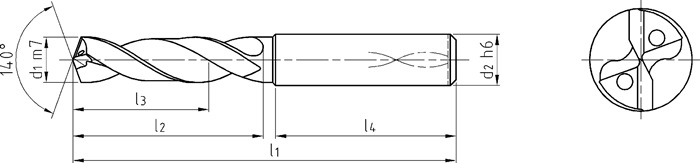 Spiraalboor DIN 6537 d.4,9mm VHM TiAlN IK 4xD schachtvorm HA PROMAT