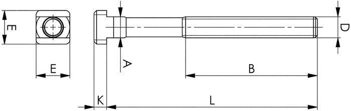 T-gleufbout DIN787K8 M24x28x315 veredeld op 8.8 m.moer en ring AMF