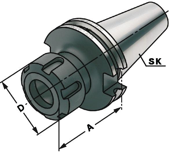 Spantanghouder type ER span-d.3-26mm DIN69871-AD SK40 A 160mm PROMAT