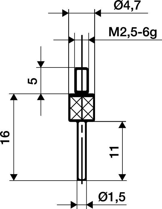 Meetinzetstuk D.1,5mm L.30mm stift Staal schroefdraad M2,5 v.meetklokken Käfer