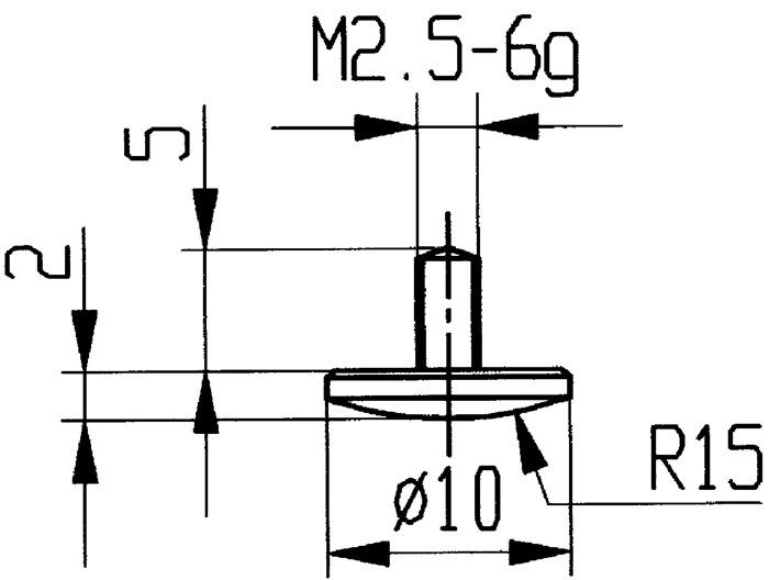 Meetinzetstuk D.10mm gekromd radius 15 Staal schr.dr. M2,5 v.meetkl.