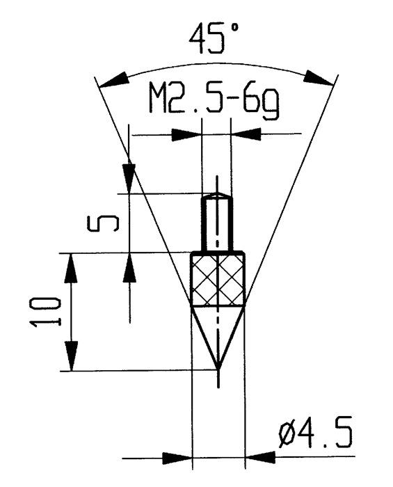 Meetinzetstuk Kegel, 45 graden Staal schroefdraad M2,5 voor meetklokken Käfer