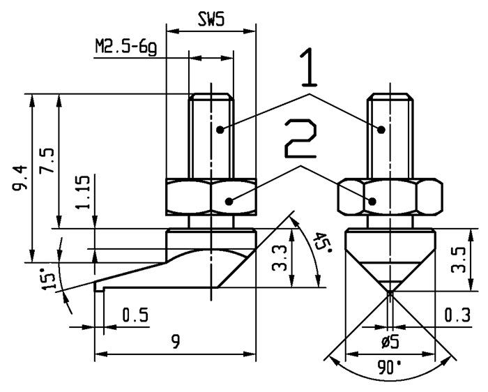 Meetinzetstuk zijtip Staal schroefdraad M2,5 voor meetklokken Käfer