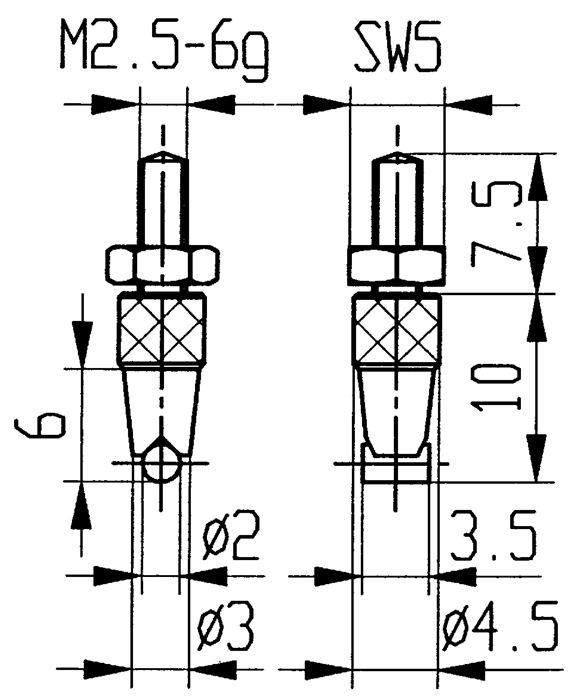 Meetinzetstuk D.2mm cilinder horizontaal HM schroefdr. M2,5 v.meetklokken Käfer