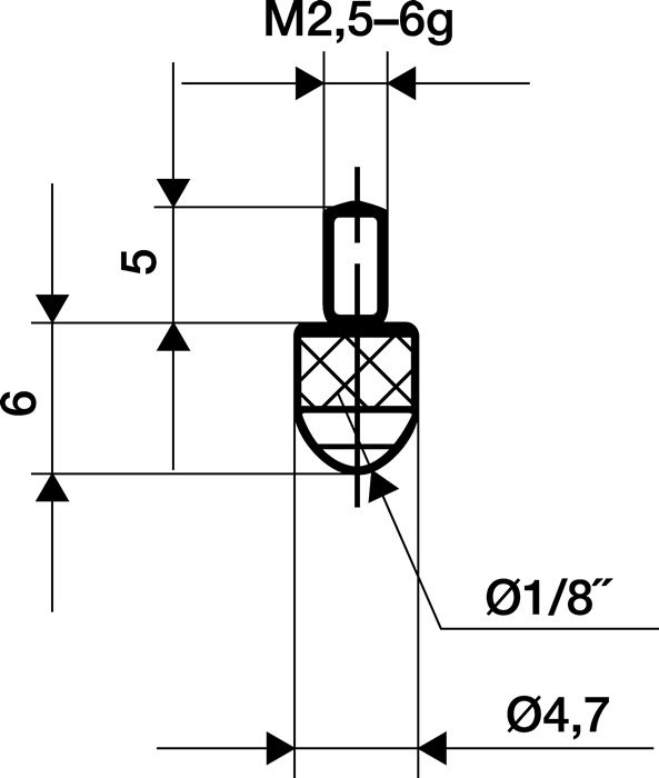 Meetinzetstuk L.6mm kogel Staal schroefdraad M2,5 voor meetklokken Käfer