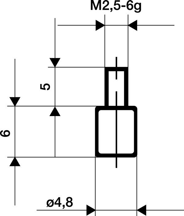 Meetinzetstuk D.4,8mm vlak Staal schroefdraad M2,5 voor meetklokken Käfer