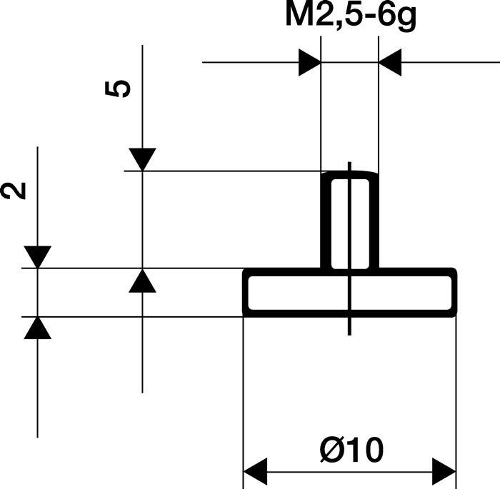 Meetinzetstuk diam.10mm vlak Staal schroefdraad M2,5 voor meetklokken Käfer