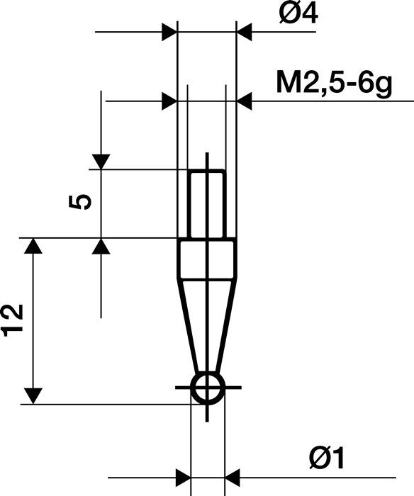 Meetinzetstuk D.1mm kogel Staal schroefdraad M2,5 voor meetklokken Käfer