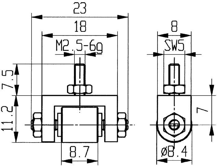 Meetinzetstuk D. 8,4mm rol Staal schroefdraad M2,5 voor meetklokken Käfer