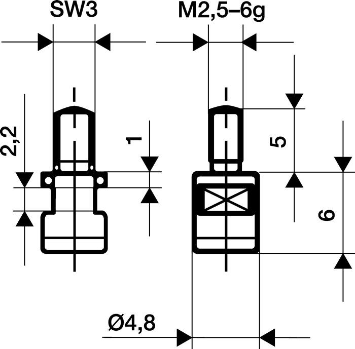 Meetinzetstuk D.4,8mm vlak HM schroefdraad M2,5 voor meetklokken Käfer