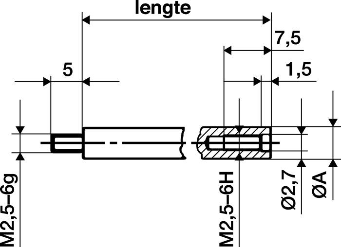 Verlengingsstuk l.20mm meetstift-D.4mm voor meetklokken KÄFER