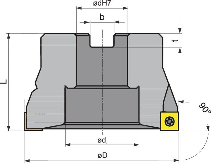 Hoekfrezen 63A07R-S90SO09-C vernikkeld m.IK PROMAT